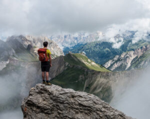 Man standing in mountains